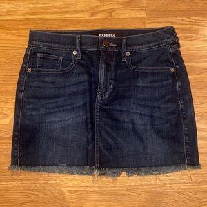 express high waisted dark denim mini skirt